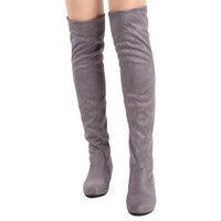 Womens Over Knee High Boots Low Heels Pull On Stretchy Thigh Faux Suede Shoes