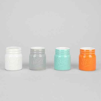 Ceramic Mason Jar Shot Glass- Set Of 4- Assorted One