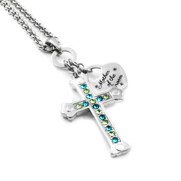 Mother of the Groom Birthstone Cross Necklace