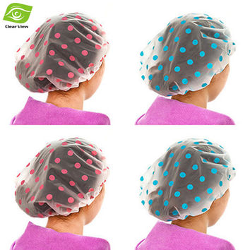 1PC Dot Waterproof Shower Cap Thicken Bath Hat Bathing Cap for Women