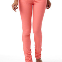 Jayden Low-Rise Color Double Button Skinny Jean Coral Celebrate