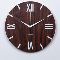 Wood Wall Clock with Silver Roman Numbers