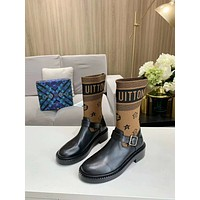 lv louis vuitton trending womens men leather side zip lace up ankle boots shoes high boots 216
