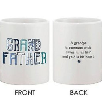 Father's Day Grandpa 11oz Mug for Grandfather -Silver Hair-Gold Heart Cup