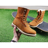 Timberland Authentics Waterproof Fold Down?Shearling Bright Yellow Mid Boots Outdoor Sneaker