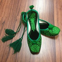 Parrot Green Embroidered Juti with Laces