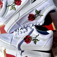 Vans Old Skool Rose Embroidery Applique All White Sneaker