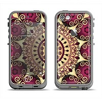 The Mirrored Gold & Purple Elegance Apple iPhone 5c LifeProof Fre Case Skin Set