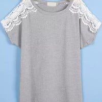 Grey Lace Short Sleeve Shirt