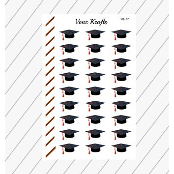 Graduation Stickers for Planner, Functional Planner Stickers, College Stickers, Graduation Cap Stickers, Perfect For Erin Condren Planner