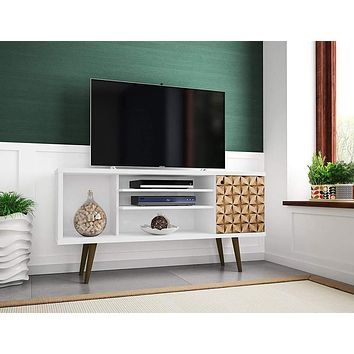 "Liberty 53.14"" Mid-Century Modern Living Room TV Stand, Small, White/3D Print"