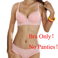 New Sexy Women C Cup Bra 3/4 Cup Thin Light Padded V-Neck Seamless Push Up bra Underwire Lingerie Underwear Soutien Gorge Pink