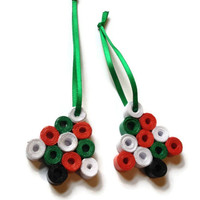 Christmas Tree Ornaments - Set of 2 - Green, Red and White, Decorations, Festive, Xmas, Bauble, Party Favour - (X4)
