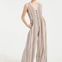 UO Sage Striped Button-Down Jumpsuit | Urban Outfitters