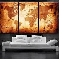 """LARGE 30""""x 60"""" 3 Panels Art Canvas Print  World Map Old texture Wall Home Office decor interior (Included framed 1.5"""" depth)"""