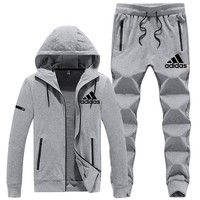ADIDAS autumn and winter new plus velvet warm long-sleeved hooded sweater trousers two-piece Grey