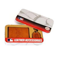 Detroit Tigers Trifold Wallet & Key Fob Gift Tin - Men (Tgr Team)