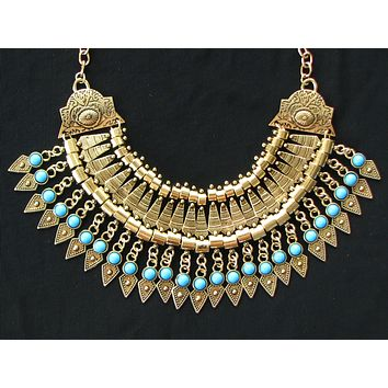 Bold Spike Gold Statement Turquoise Gypsy Choker Necklace