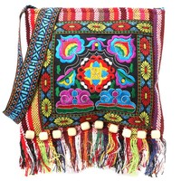 Linen Chinese Women Hmong Thai Embroidery Hill Tribe Totes Messenger Shoulder Tassels National Bag Boho Hippie Soft Bags Floral