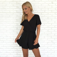 Simply Satin Romper in Black