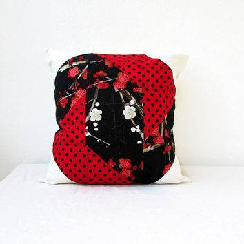Red and Black patchwork cushion cover, modern quilted cushion cover, patchwork pillow, 16 inch cushion, quilted pillow, handmade in the UK