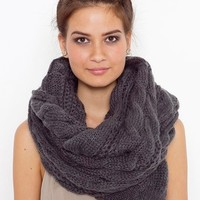 Oversized Cable Knit Scarf - Charcoal  in  What's New at Nasty Gal