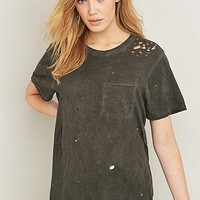 BDG Destroyed Grey Pocket T-shirt - Urban Outfitters