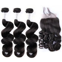 Peruvian Human Hair 3 Bundles With Closure 100% Remy Hair Peruvian Loose Wave with 4*4 Hand Tied Lace Closure