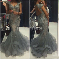 Gray Appliques Beads Mermaid Prom Dresses Sexy Open Back Long Fitted Prom Evening Dress 2016 Vestidos De Festa Luxury Party Gown