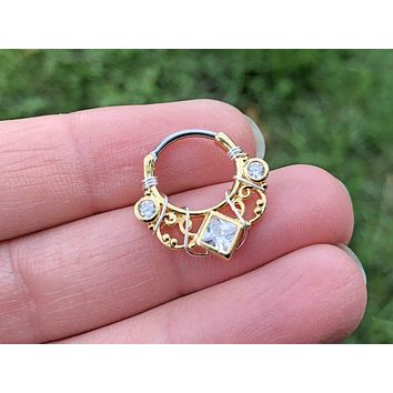 Lace Swirl Square CZ Gold Daith Piercing Rook Earring Hoop Silver Clicker