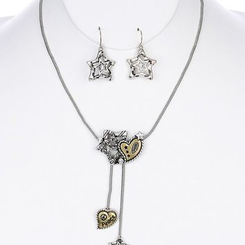 "Marcasite Crystal 15"" Necklace Set with Matching Earrings"
