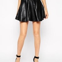 Y.A.S Oracle Skirt in Leather with Flared Hem