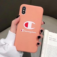 Champion Fashionable Silicone iPhone X XR XS XS MAX Phone Cover Case For iphone 6 6s 6plus 6s-plus 7 7plus 8 8plus X Orange Pink