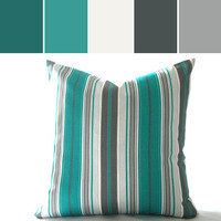 Pillow cover Multi color Striped Teal/Turquoise - Outdoor pillow cover 18 inch