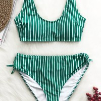 Cupshe Afternoon Stroll Stripe Bikini Set