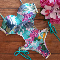 2016 New Women Floral Print Strappy Wrap Triangle Backless Bathing Suit Brazilian Monokini Swimsuits Swimwear One Piece Bodysuit