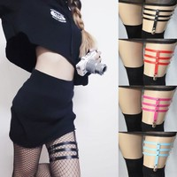 Sexy leather three-row thigh ring garter belt for fashionable ladies