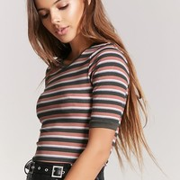 Ribbed Striped Ringer Tee