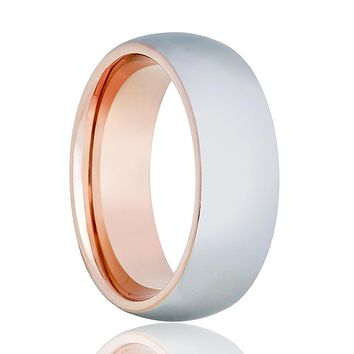 Two-Tone Men's Tungsten Wedding Band with Rose Gold Interior & Shiny Silver Outer with Domed Edges - 8MM
