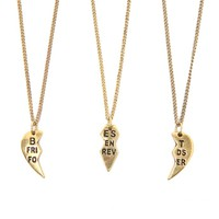With Love From CA Envelope BFF Heart Necklace - Womens Jewelry - Gold - One