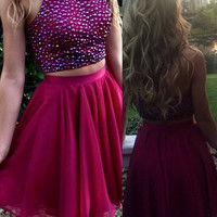 Red Two Piece Halter Homecoming Dresses