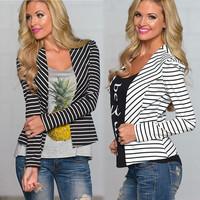 Striped Cardigan Sweater Jacket in Black or White
