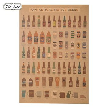 1 PCS Beer Complete Graph Retro Style Kraft Paper Decorative Bar Decorative Wall Sticker