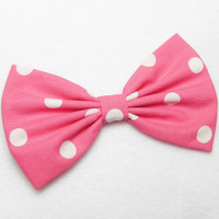 Minnie Mouse Bow Clip Hair Accessories Women Teens Girls Pink White Polkadots