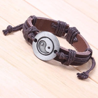 Fashion Bracelet Tai Chi Ying Yang Genuine Leather Bracelet Men Women Wristband Bracelet = 1932539332