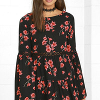 Dearly Bell-loved Black Floral Print Long Sleeve Dress