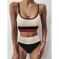 Color Block Rib High Waisted Bikini Swimsuit