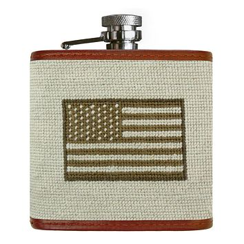 Armed Forces Flag Needlepoint Flask by Smathers & Branson