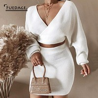 Fuedage Spring Two Piece Set Women V Neck Batwing Sleeve Hollow Out 2 Piece Set Knitting Party Women Two Piece Outfits