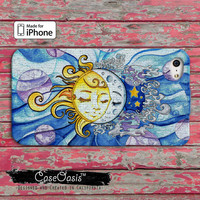 Sun and Moon Custom iPhone 4 and 4s Case and Custom iPhone 5 and 5s and 5c Case
